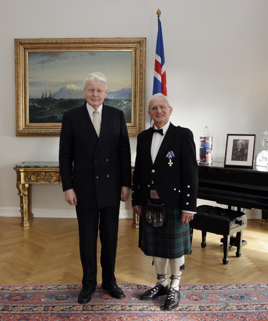 Roger Crofts after receiving the Knight's Cross of the Icelandic Order of the Falcon from the President of Iceland